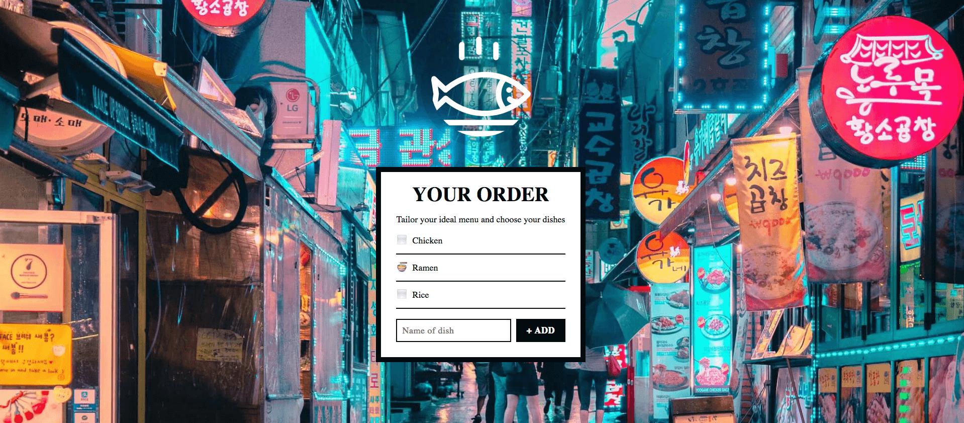 Food menu order